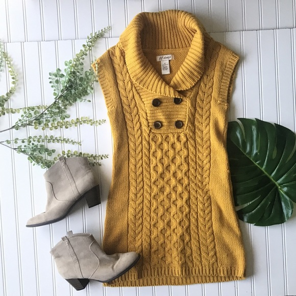 Dresses & Skirts - Sweater dress yellow mustard sleeveless button